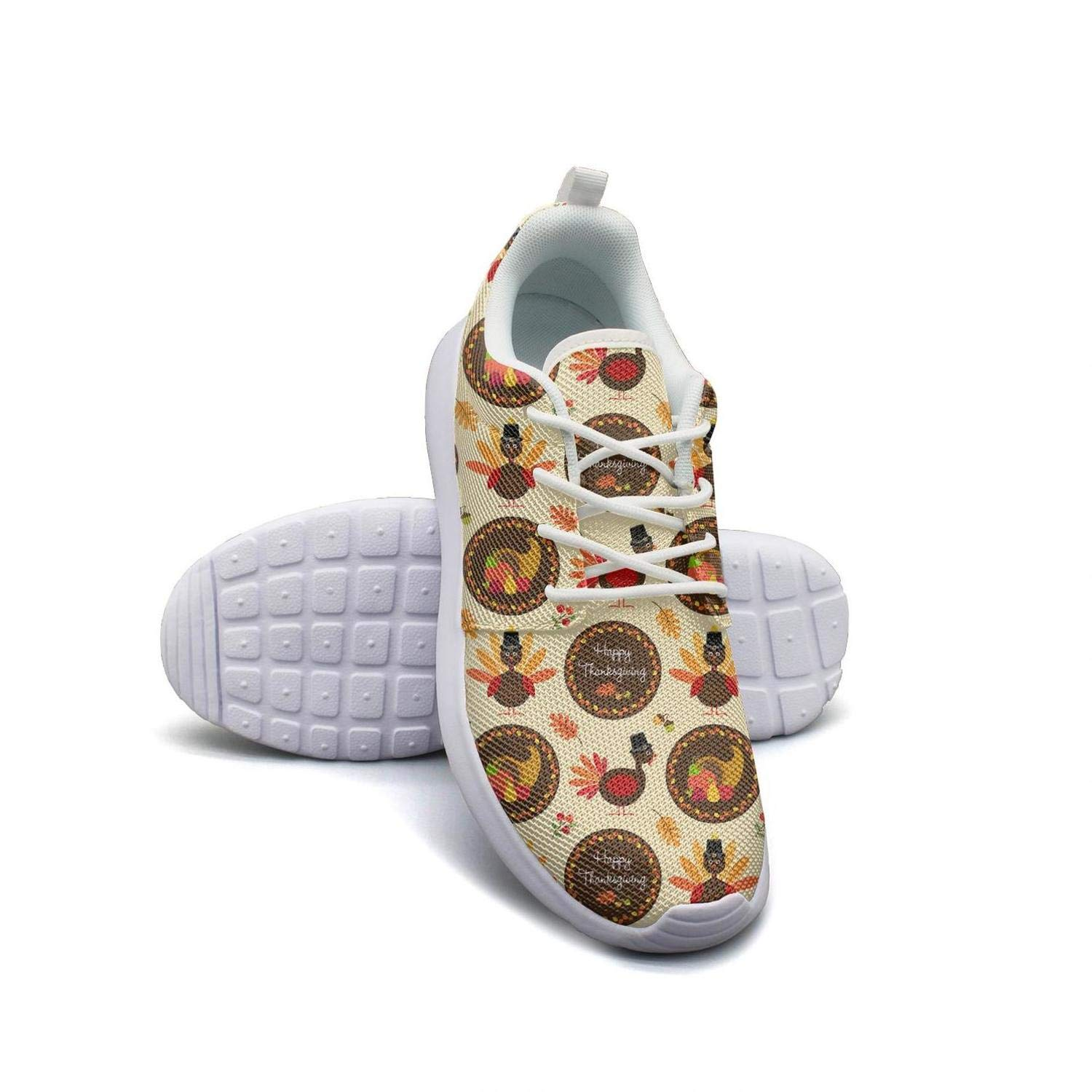 Happy Thanksgiving Pattern with Turkeys Lady Flat Bottom Casual Shoes Original Classic Running Shoes