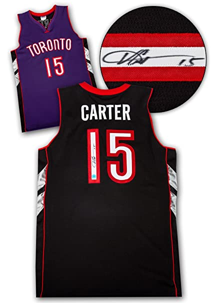 cheap for discount 6c56f 6c78e Vince Carter Toronto Raptors Autographed Purple Black Custom ...
