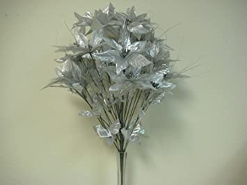 Amazon silver christmas poinsettia bush 24 artificial silk silver christmas poinsettia bush 24 artificial silk flowers 24quot bouquet 024sl mightylinksfo