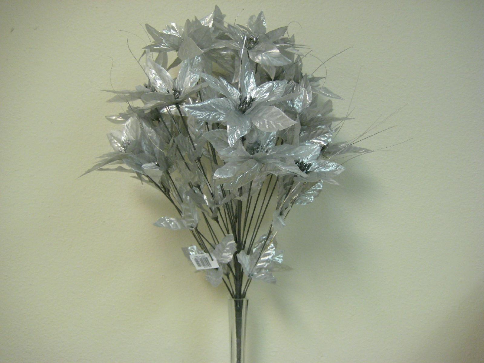 "Silver Christmas Poinsettia Bush 24 Artificial Silk Flowers 24"" Bouquet 024SL"