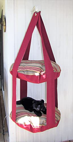 Outdoor Cat Tree, Burgundy U0026 Green Stripe, 2 Level Kitty Cloud Cat Bed,