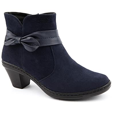 b74a3944221 Ladies Caravelle Wide Fit Bow Tie Navy Ankle Boots Size 8  Amazon.co ...