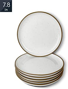 Mora Ceramic Plates, 7.8 inch - Set of 6 - The Dessert, Salad, Appetizer, Small Dinner etc Plate. Microwave, Oven, and Dishwasher Safe, Scratch Resistant. Kitchen Safe Porcelain Dish - Vanilla White