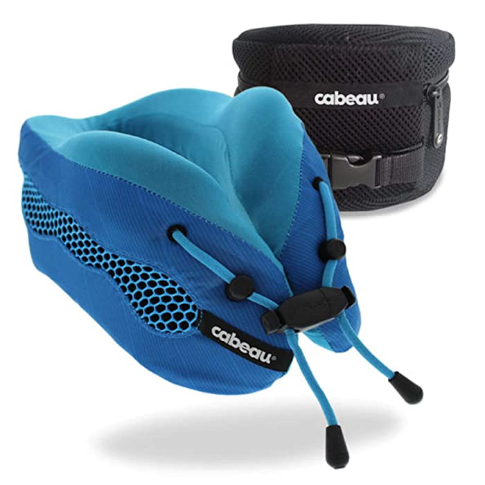 Cabeau Evolution Cool Travel Pillow, Air Circulating Head and Neck Support, 100% Memory Foam Airplane Neck Pillow, Backed by Sleep Science for Maximum Sleep Comfort