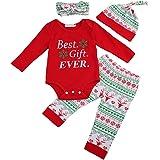 Charm Kingdom Baby Boys' Christmas 4Pcs Outfit Headband+Hat+ Romper+Pants Leggings