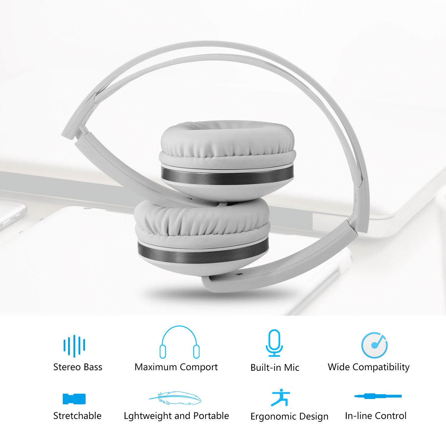 Foldable Headphones with Microphone, Vive Comb Stereo Lightweight Adjustable PC Headset Wired Headphones with Volume Control for Tablet, Smartphones, Video Game, Laptop-White by Vive Comb (Image #8)