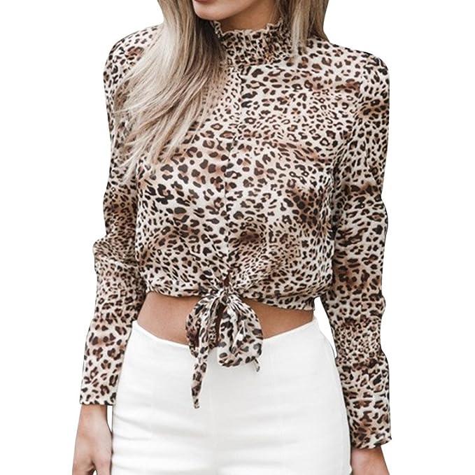 Tefamore Mujer Camiseta Ocasionales Manga Larga Blusa Leopardo Impresión Elegantes Vendaje Camisas Casual Tops
