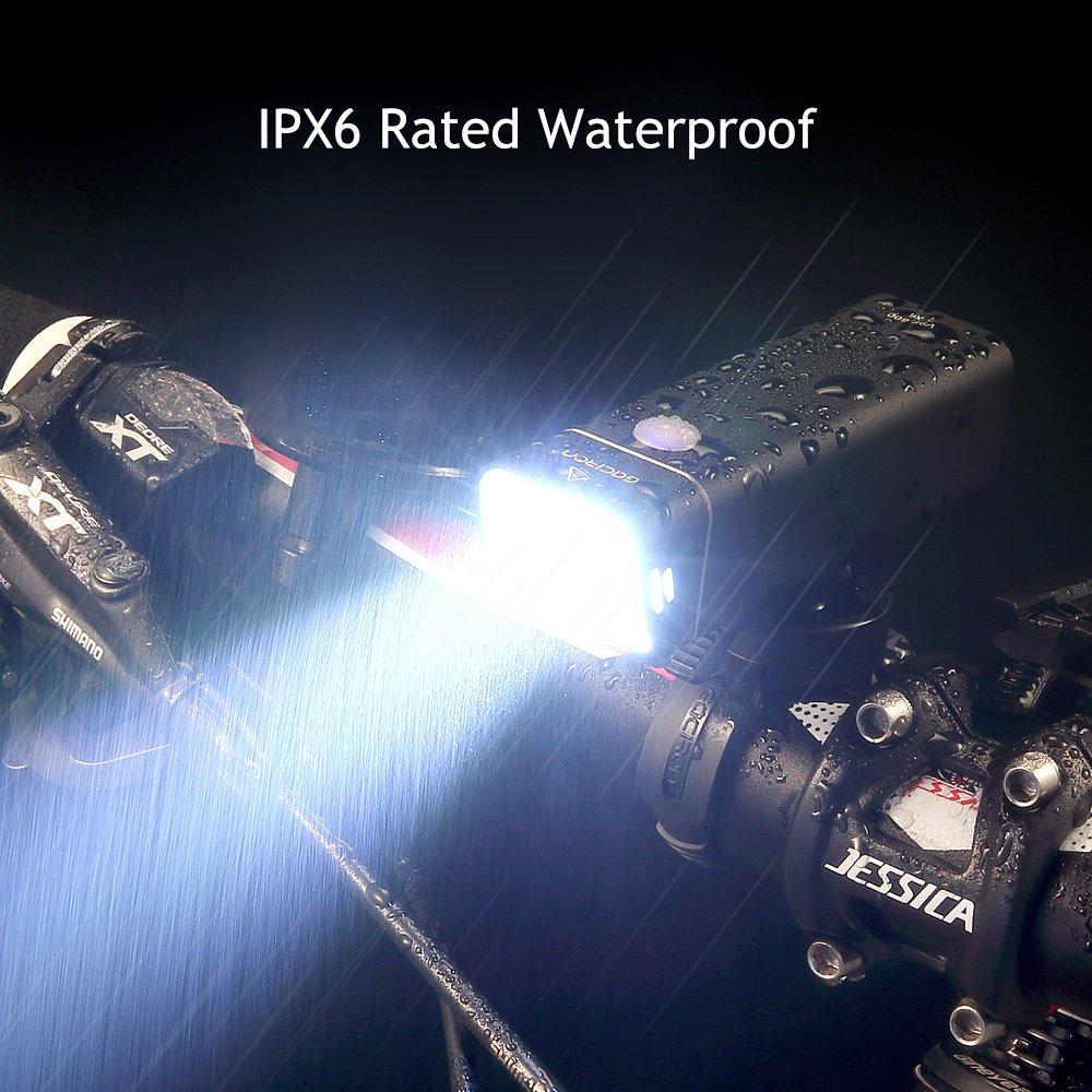 Gaciron luz LED Cree para Bicicleta IPX6 Luz Delantera para Bicicleta Recargable USB Resistente al Agua Accesorios de Seguridad para Bicicleta 600 l/úmenes