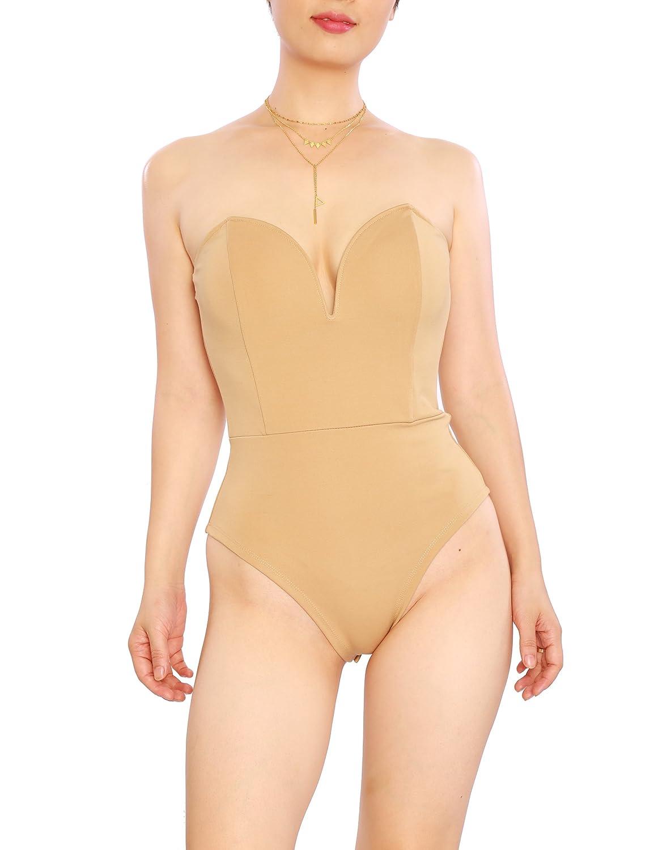 May/&Maya Womens Strapless Plunge Neck Bodysuit