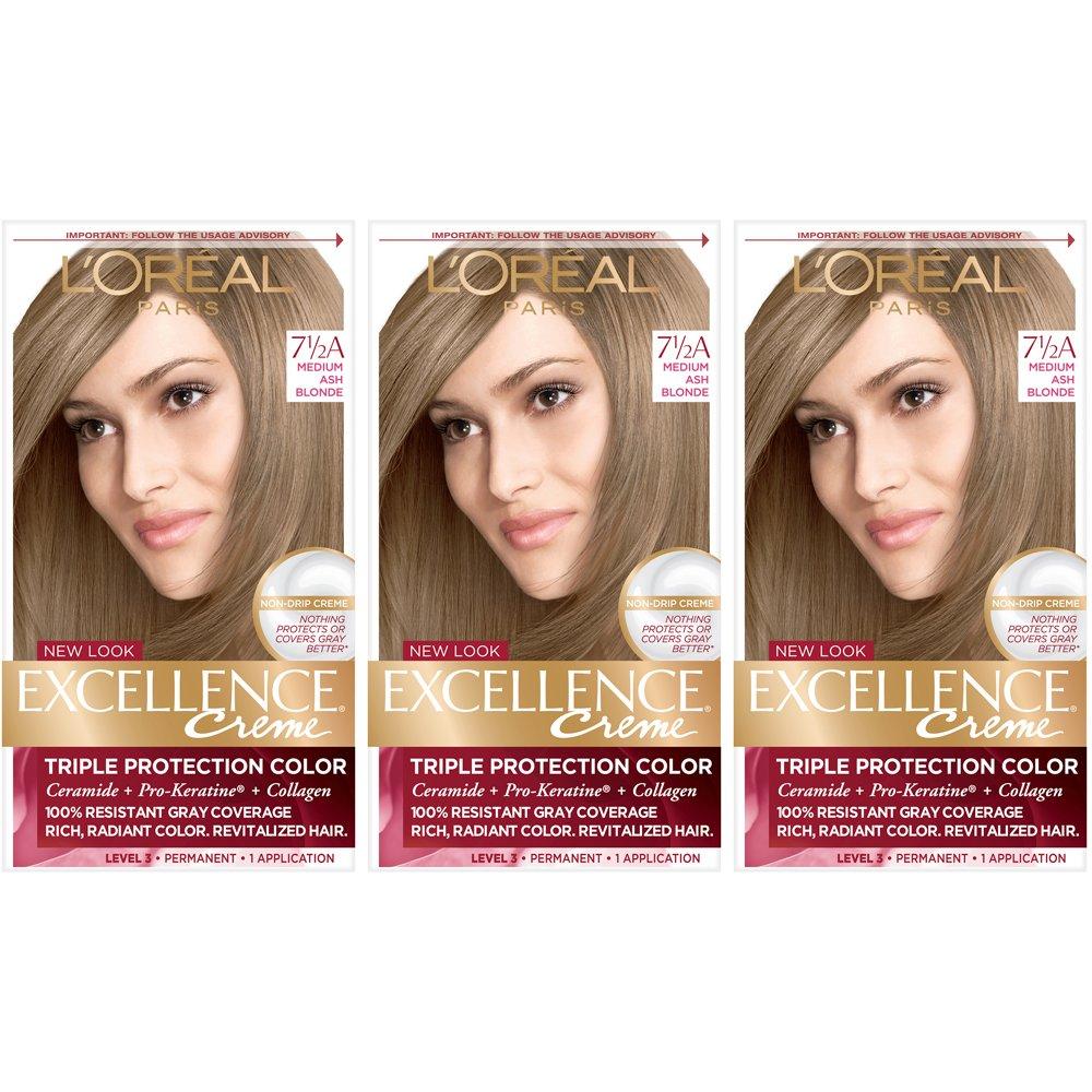 L'Oreal Paris Excellence Creme Permanent Hair Color, 7.5a Medium Ash Blonde (Pack of 3) by L'Oreal Paris
