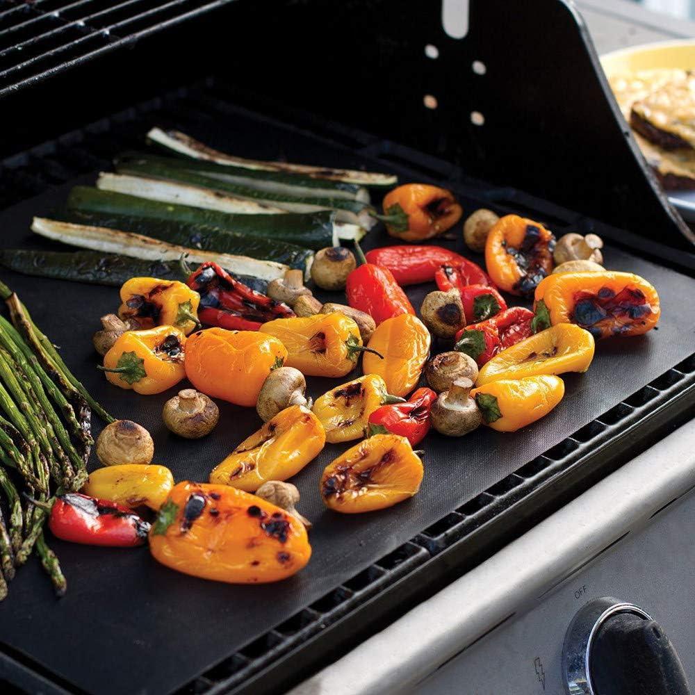 FMXKSW Barbecue Grill Tapis 2/3 PCS Réutilisable Antiadhésif Pad Feuille De Cuisson Portable en Plein Air Pique-Nique Cuisson Barbecue Four Outil 40 * 33 cm, Noir 3 pcs noir 2pcs