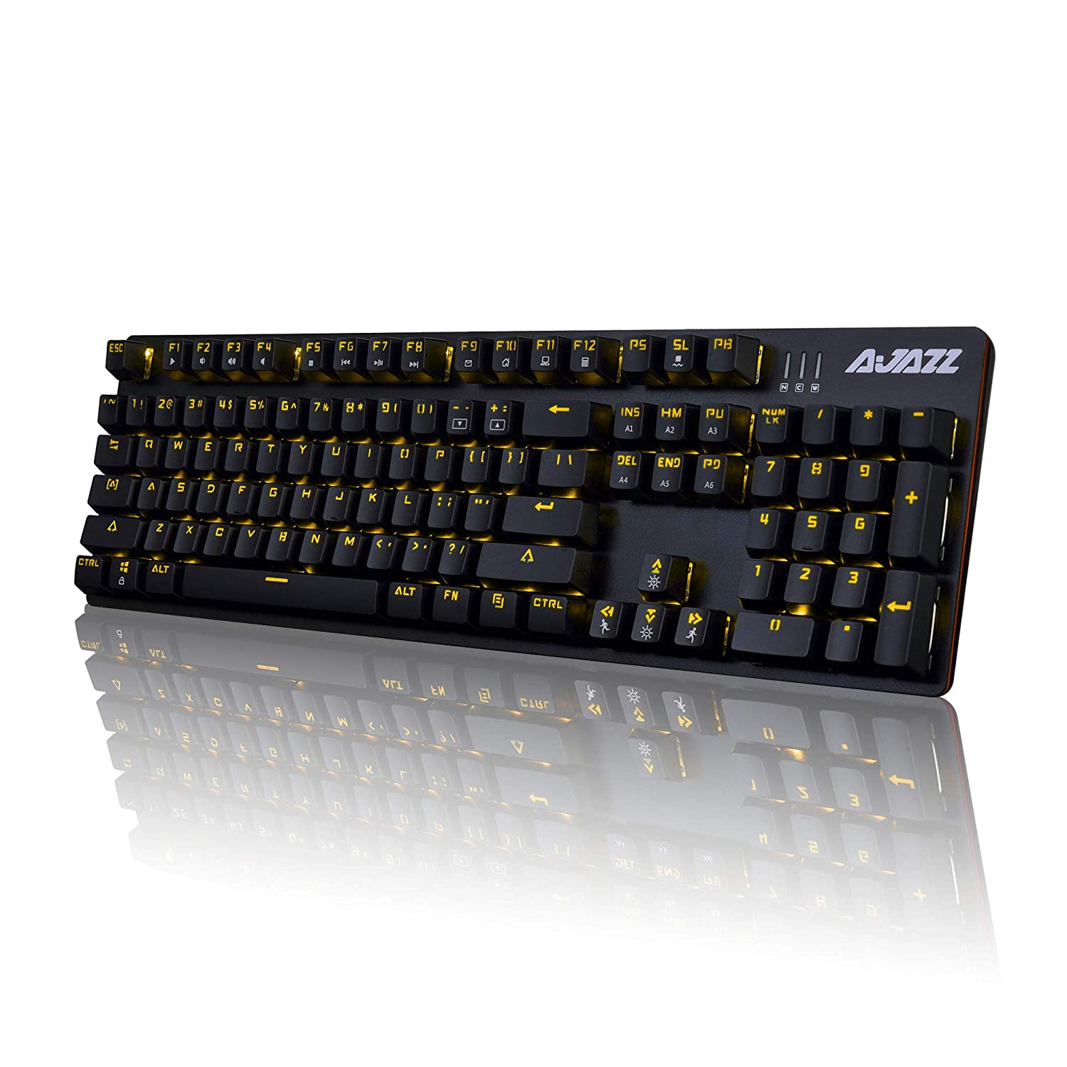 best authentic d8468 fa3f3 Ajazz AK50 Mechanical Keyboard with Brown Switches, 104 Standard Keys  Classic Layout, Anti-Ghosting Professional Gaming Keyboard, Yellow LED  Backlit, Black