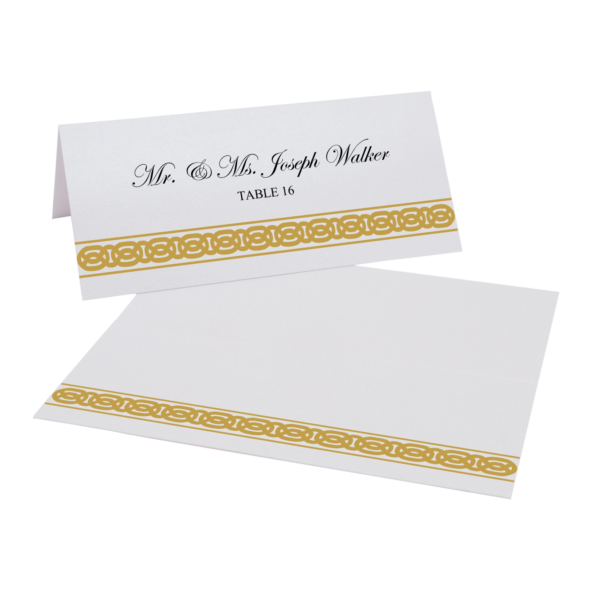 Documents and Designs Celtic Band Border Easy Print Place Cards (Select Color), Gold, Set of 150 (25 Sheets)