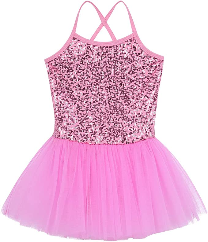 inlzdz Kids Girls One Piece Swimsuit Spaghetti Shoulder Straps Criss Cross Back Tutu Swimwear Bathing Suit