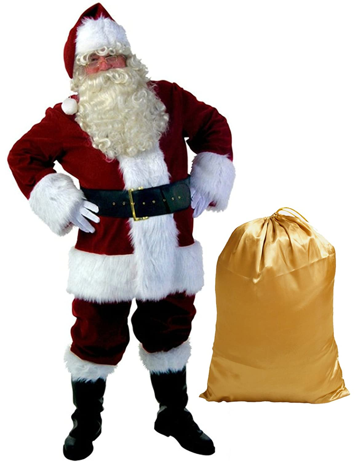 Adult Santa Suit 10-Pc Costume - DeluxeAdultCostumes.com