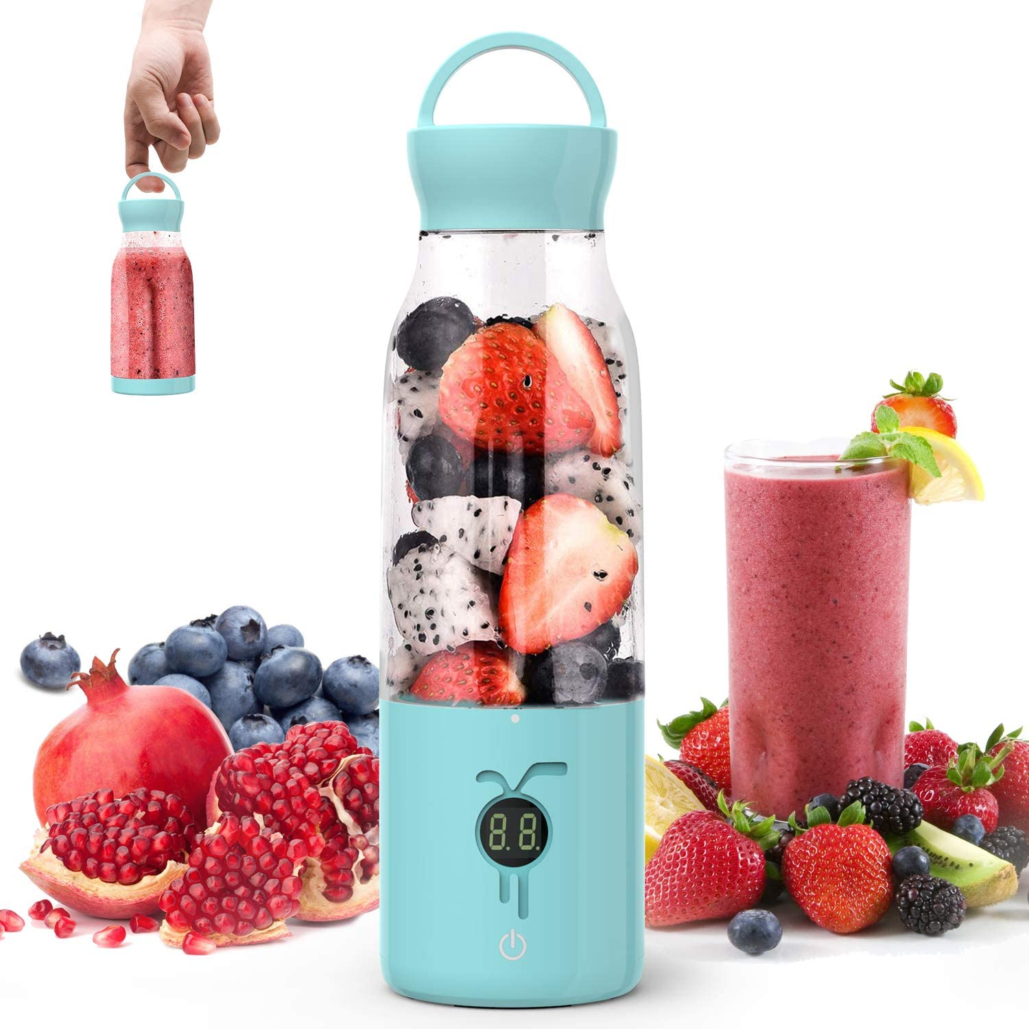 Portable Smoothie Blender - NTONPOWER Personal Blender Juicer Cup with USB Rechargeable, 450ML Single Serve Fruit Mixer with Stainless Steel 6-Blade, Multifunctional Small Travel Blender with 4000mAh High Capacity Batteries