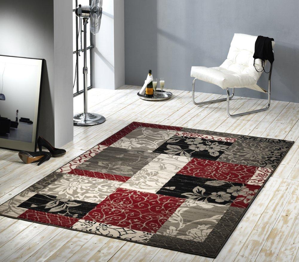 Design Velours Teppich Patchwork Optik Bordure Rot Grau Beige