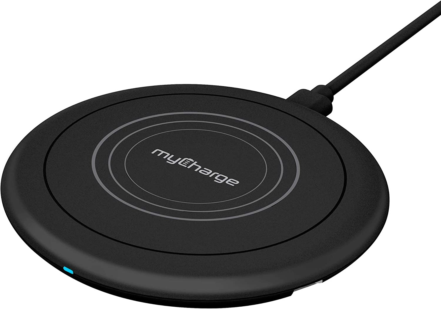 myCharge Wireless Charger 10W Qi Power Disk+ Fast Charge Wireless Charging Pad for Apple iPhone 11, 11 Pro/Max, XS/Max, XR, X, 8/Plus & Android for Samsung Galaxy S20, 10, 8, Note, Edge - Black