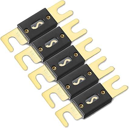 Zhiting 5 Stück 150a Anl Sicherung Mini Fuse Vergoldet Für Kfz Audiosysteme Endstufe Schutz Goldfarben Schwarz Auto
