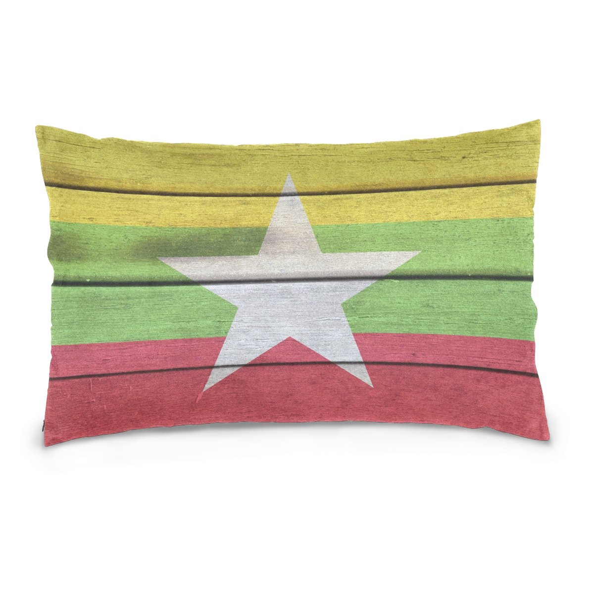 ALAZA Myanmar Flag Colorful Star over Wood Surface Cotton Lint Pillow Case,Double-sided Printing Home Decor Pillowcase Size 16''x24'',for Bedroom Women Girl Boy