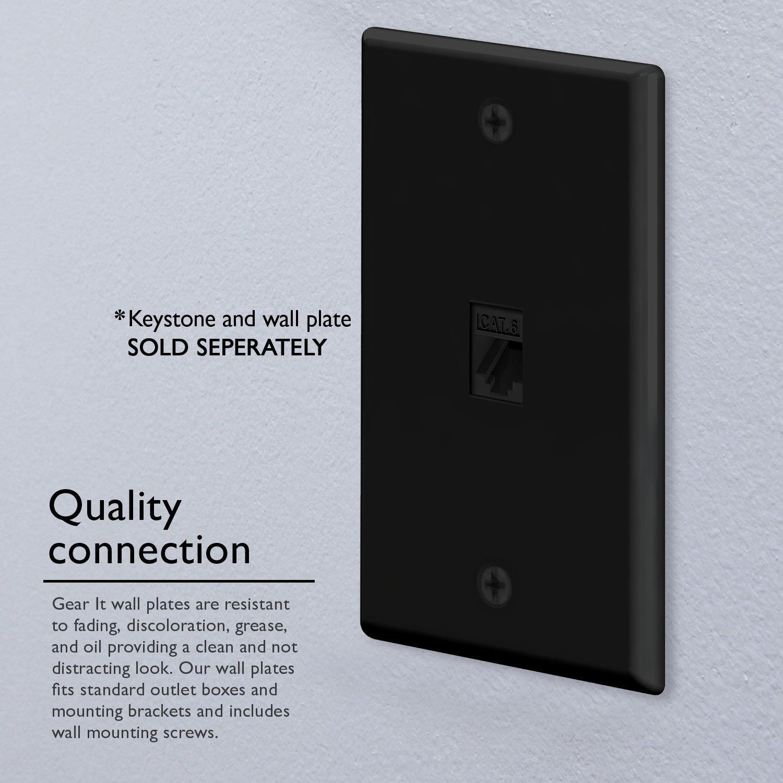 Ethernet Wall Plate, GearIT (10-Pack) 1 Port Cat6 RJ45 Wall Plate Keystone Jack, Black