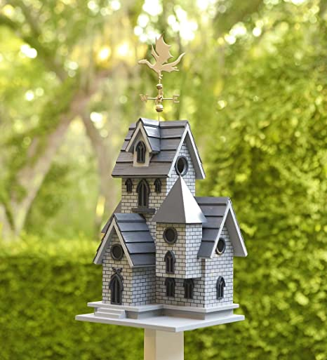 Wind & Weather Gothic Castle Birdhouse with Metal Dragon Weathervane, Functional Birdhouse, Easy-Clean Back Panel, Dramatically Detailed, 11
