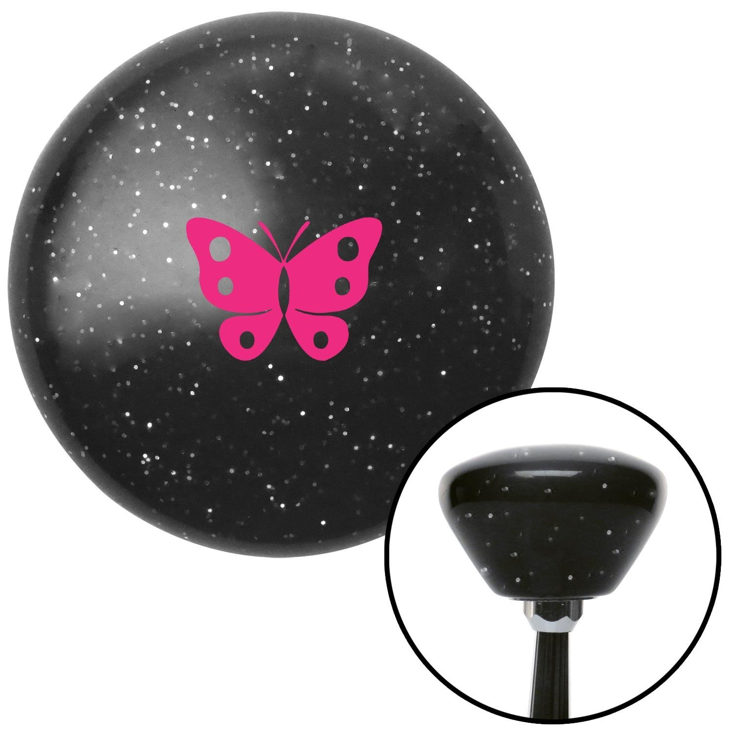 American Shifter 286872 Shift Knob Pink Classic Butterfly Black Retro Metal Flake with M16 x 1.5 Insert
