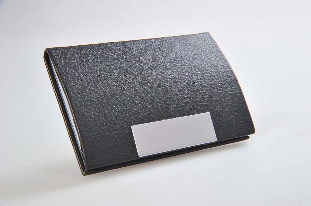 Monumentum: Porte-cartes de visite fait en cuir, avec fermeture magnétique argentée, noir (G313 DE) Name Card Holder G313