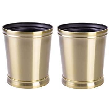 mDesign 2er-Set Mülleimer aus Metall – optimal als Papierkorb oder ...