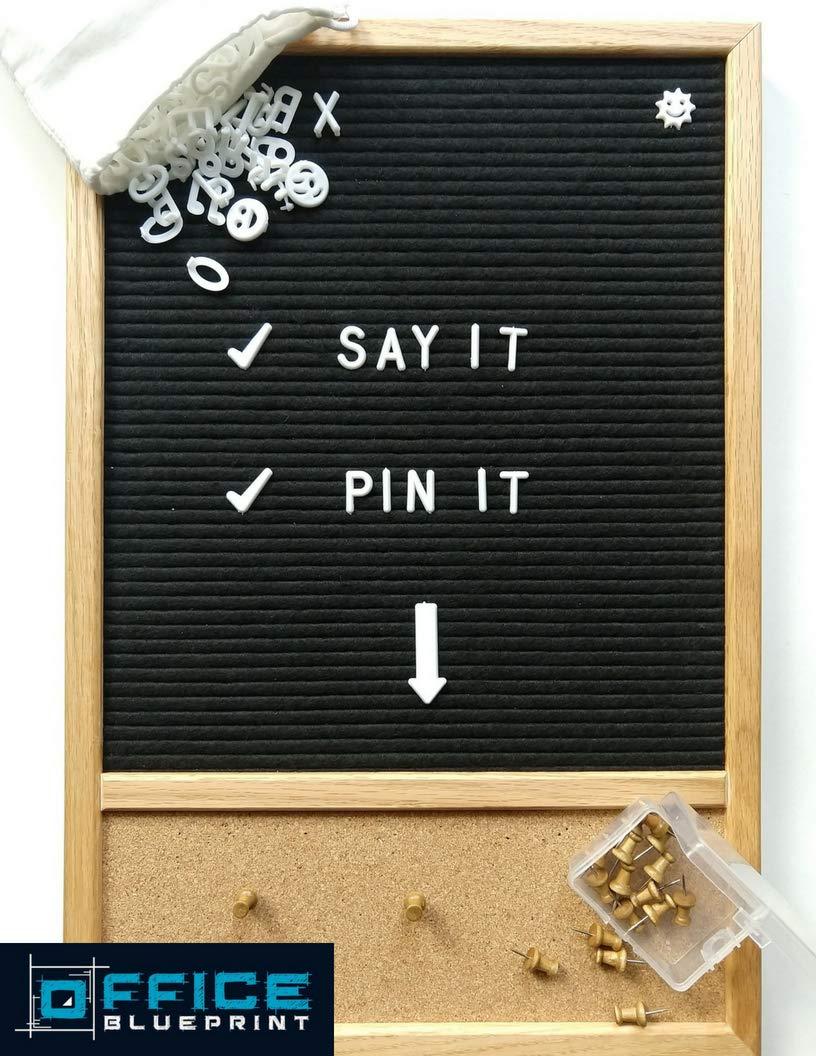 Letter Board 12x18, Cork Board, 346 Letters & Symbols, Pins | Bulletin Board, Changeable Letter Board, Felt Board, Word Board, Sign Board Office Blueprint