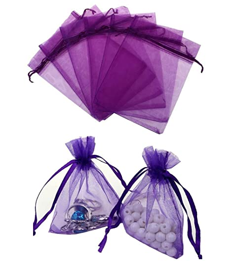100 bolsas de organza de 10 x 15 cm de color puro, con ...