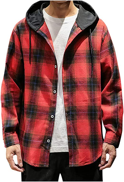 Men Plaid Slim Long Sleeve Hooded Pullover Jumper Sweatshirt Coat Jacket T-shirt
