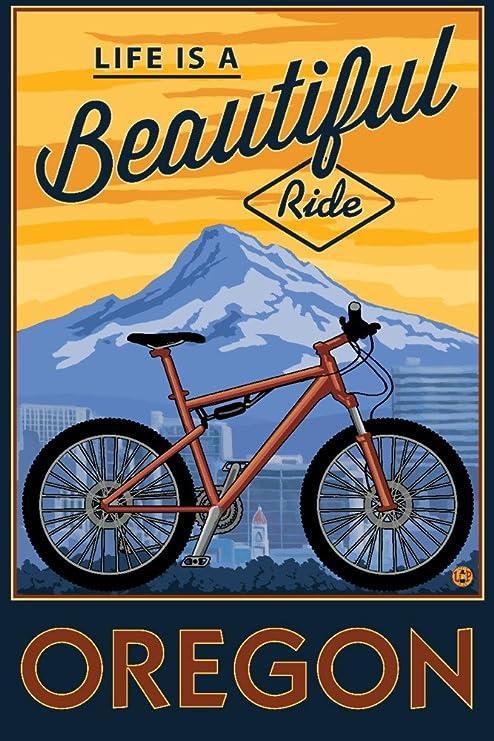 Lantern Press Oregon – Life is a Beautiful Ride – para Bicicleta ...