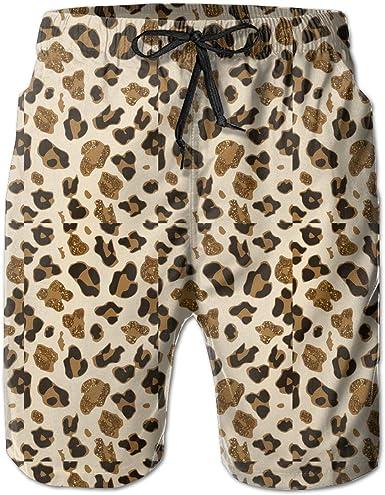 Yting Pantalones Cortos Para Hombre De Playa De Leopardo Brillante Para Hombre Con Bolsillos De Forro De Malla Para Hombres Amazon Es Ropa Y Accesorios