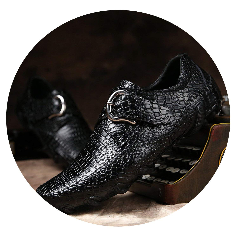 Black ALWAYS ME Spring Men Casual shoes Genuine Leather Driving shoes Crocodile Texture Flats shoes Plus Size