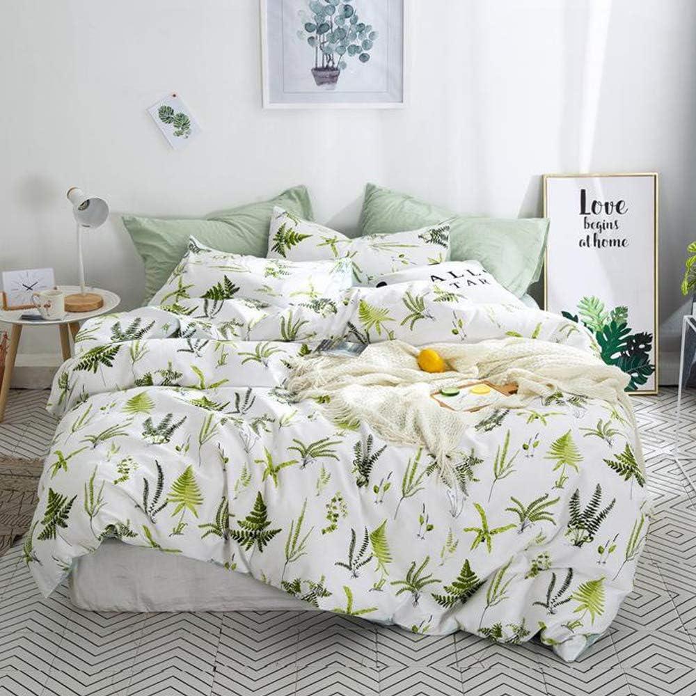 MKXI Botanical Duvet Cover Sets Twin Size 100% Cotton White Floral Bedding Plants Design- 1 Duvet Cover Zipper Closure 2 Envelope Pillowcases Standard