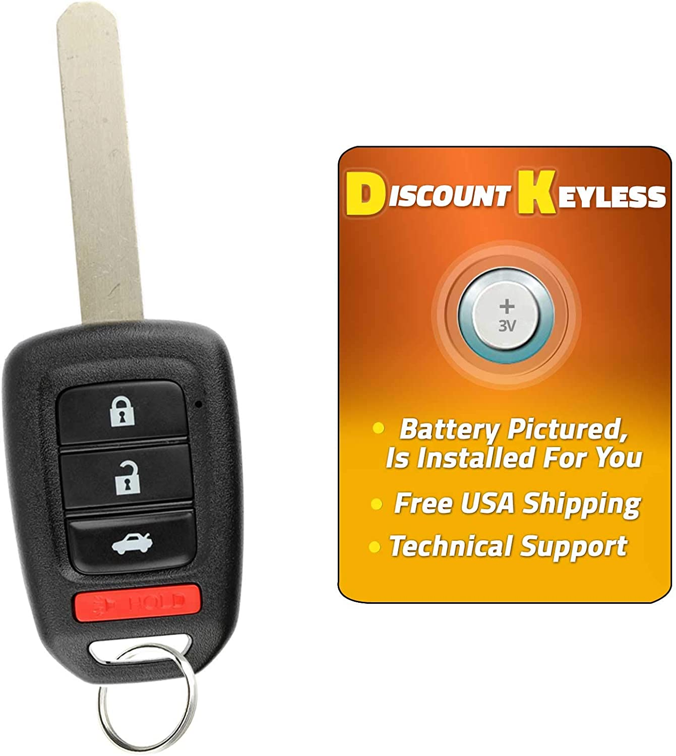 Discount Keyless Entry Remote Control Car Key Fob Clicker For CRV MLBHLIK6-1T 2 Pack