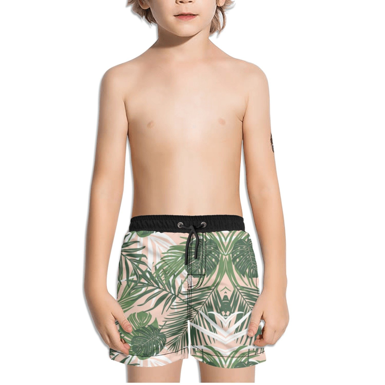 Ouxioaz Boys Swim Trunk Tropic Palm Leaves Beach Board Shorts