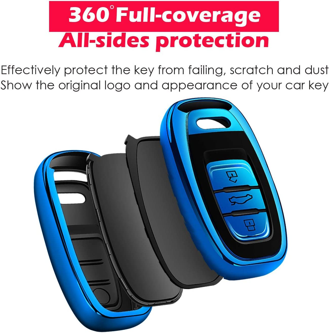 Autophone for Audi Key Fob Cover Premium Soft TPU 360 Degree Entire Protection Key Shell Key Case Compatible with Audi A1 A3 A4 A5 A6 A7 A8 Q3 Q5 Q7 S3 S4 S5 S6 S7 S8 SQ5 RS5 RS7 Smart Key-Red