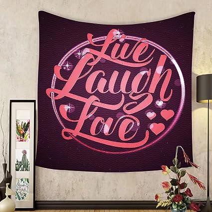 Amazon.com: Gzhihine Custom tapestry Live Laugh Love Decor Tapestry ...