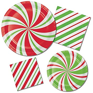 Peppermint Theme Party Supply Pack! Bundle Includes Paper Plates u0026 Napkins for 8 Guests  sc 1 st  Amazon.com & Amazon.com: Peppermint Theme Party Supply Pack! Bundle Includes ...