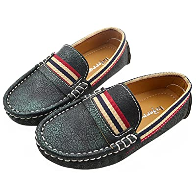 IDIFU Boy's Girl's Breathable Durable Slip On Low Cut Loafers Casual Shoes