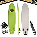 Gold Coast Surfboards - 8' Soft Top Foam Surfboard - The Verve - High Performance Foam Surfboard - CrocSkin Foam Deck, Double Concave Bottom Deck, Rubber Logo, 3 Stringers, GoPro Mount, No Wax Needed