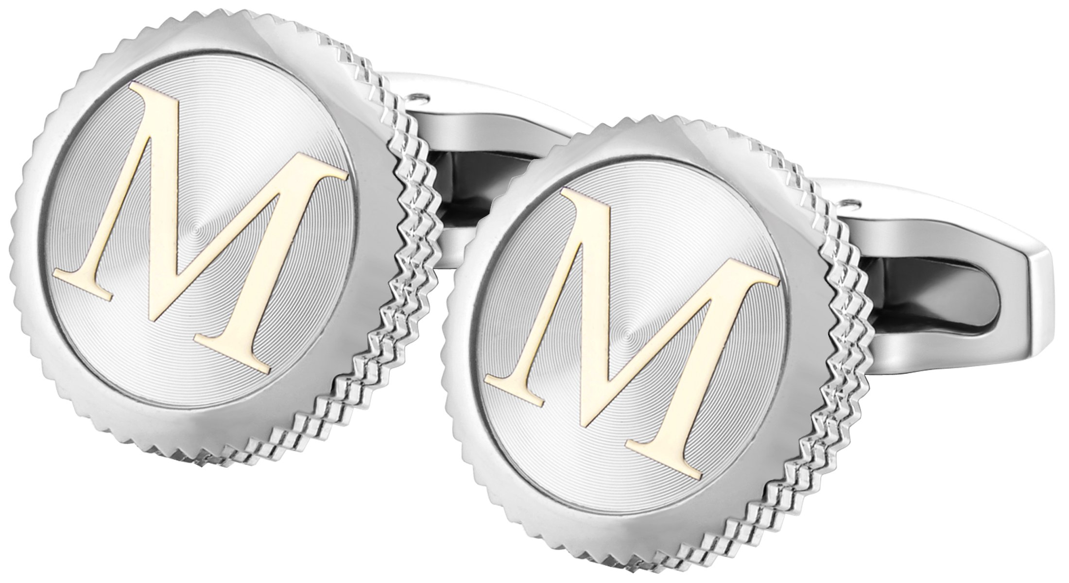 GGemony Men's Shirt Cufflinks 2PCS,Premium Quality Personalized Alphabet Letter A-Z (M-1Pt/)