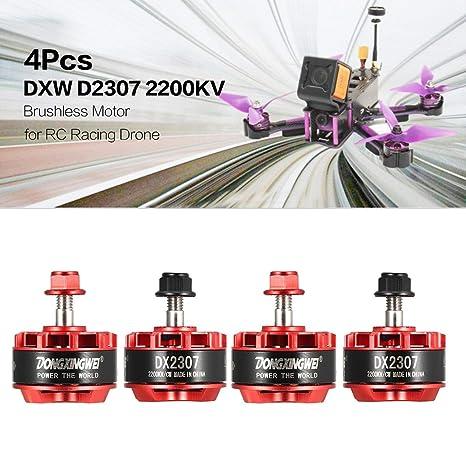 LasVogos 4Pcs DXW D2307 2200KV 2-5S CW / CCW 5mm Motor sin escobillas para