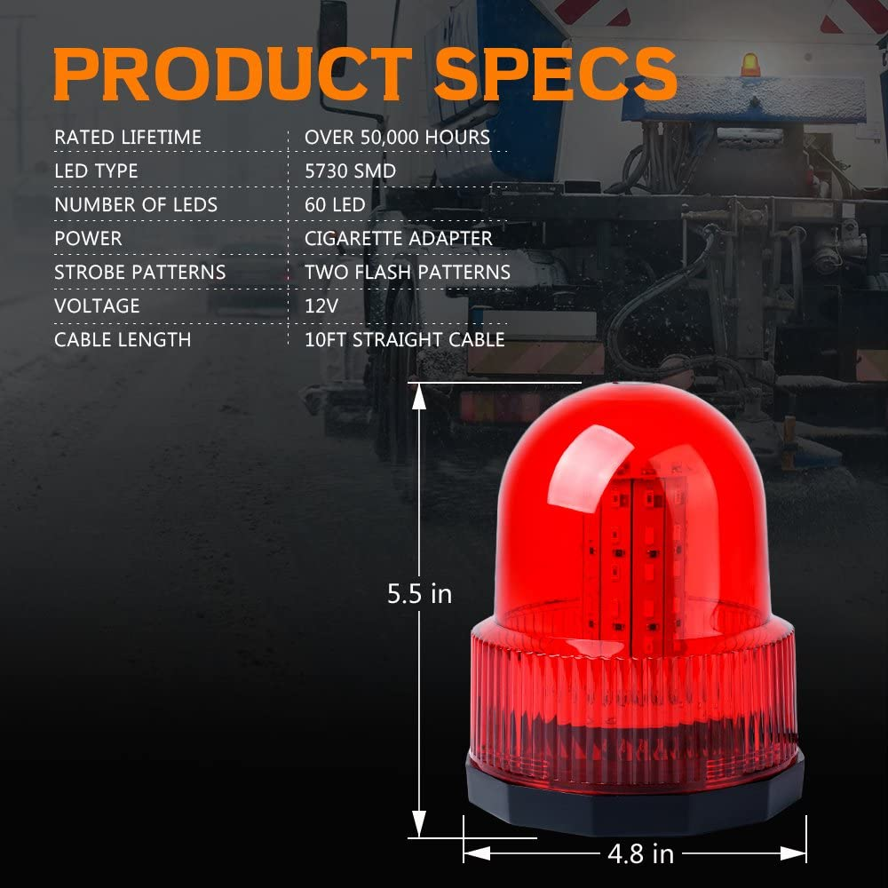 Xprite Super Bright Amber//Yellow Rotating Revolving LED Beacon Strobe Light,with Magnetic Mount 60LEDs 15W Emergency Warning Caution Flashing Light for Snow Plow Truck UTV 12v Vehicle