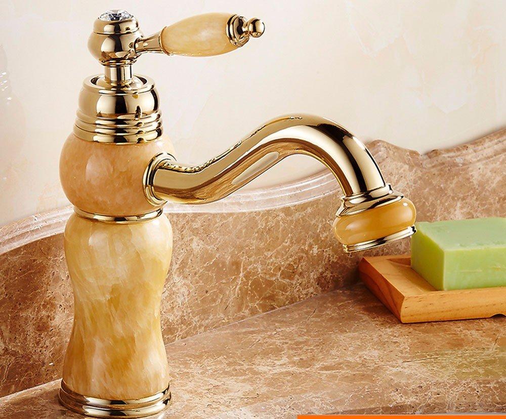 LSRHT Waschtischarmatur Wasserhahn Armatur Badezimmer Waschbecken Mischbatterie Kupfer Jade Sit-On beschichtetes Gold Tb -01-5 B