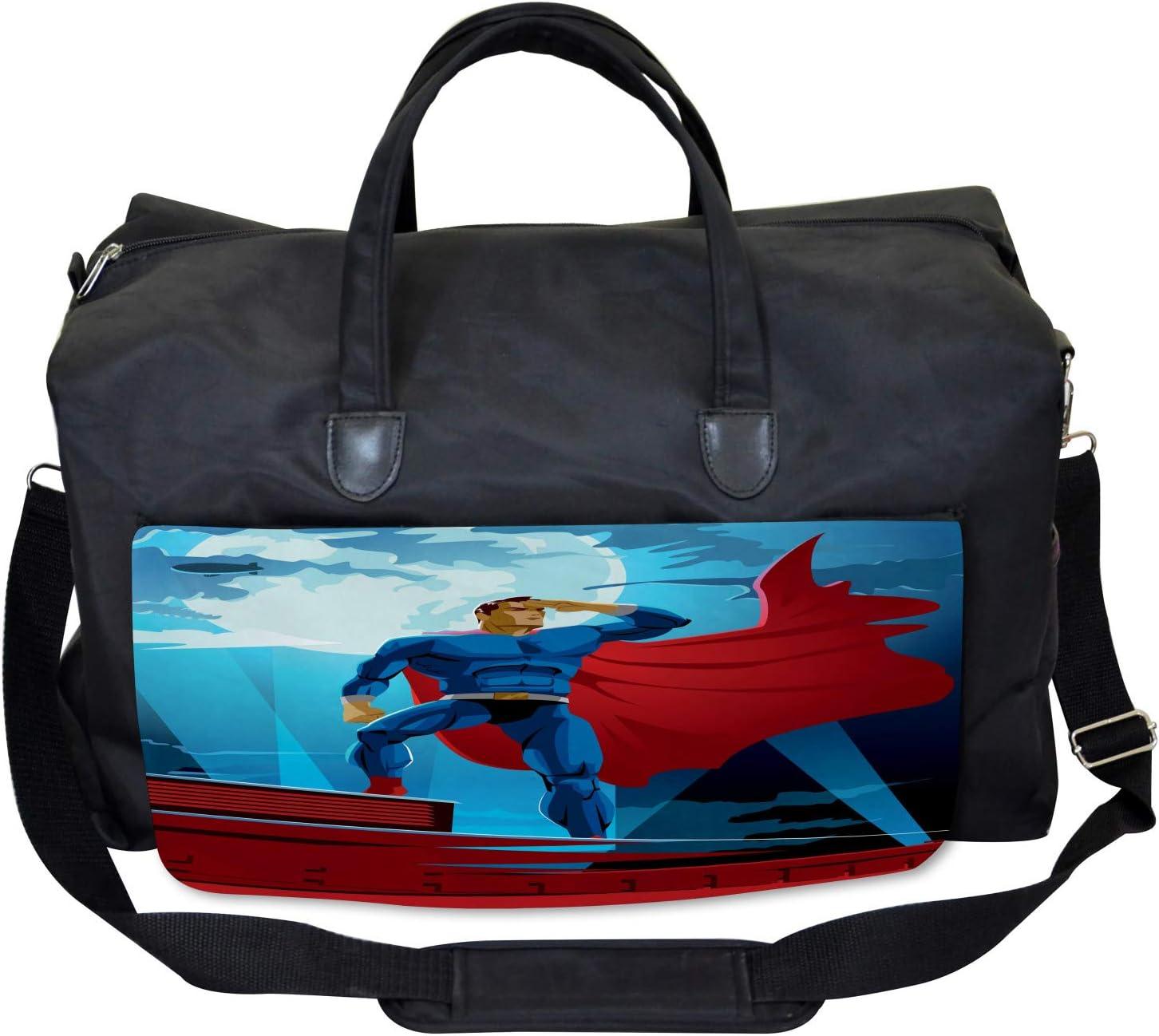 Large Weekender Carry-on Ambesonne Superhero Gym Bag Retro Cartoon Heros