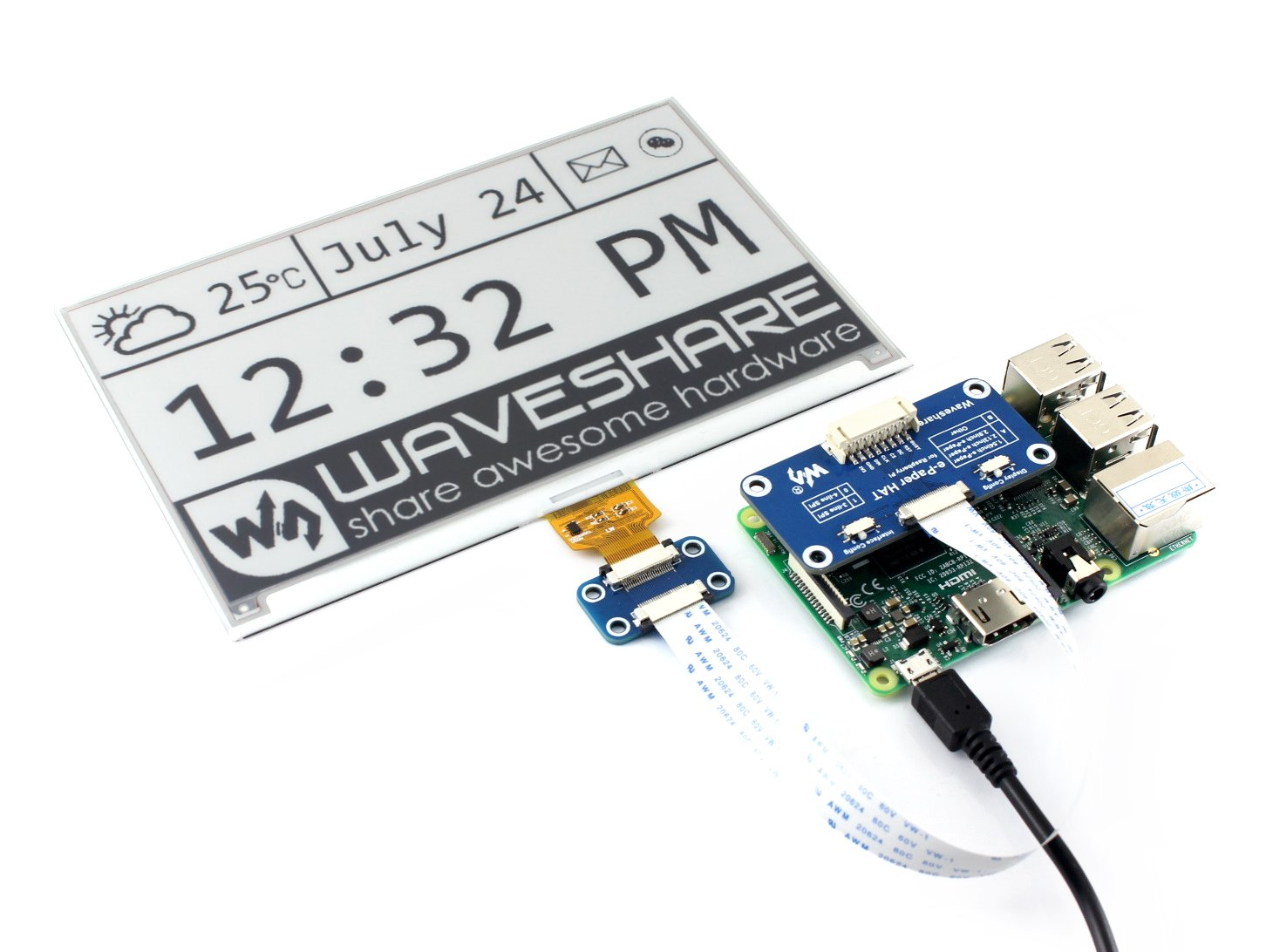 Waveshare 75inch E Ink Display Hat For Raspberry Pi Wiringpi Bcm2835 640x384 Black White Two Color Screen Spi No Backlight Ultra Low Consumption