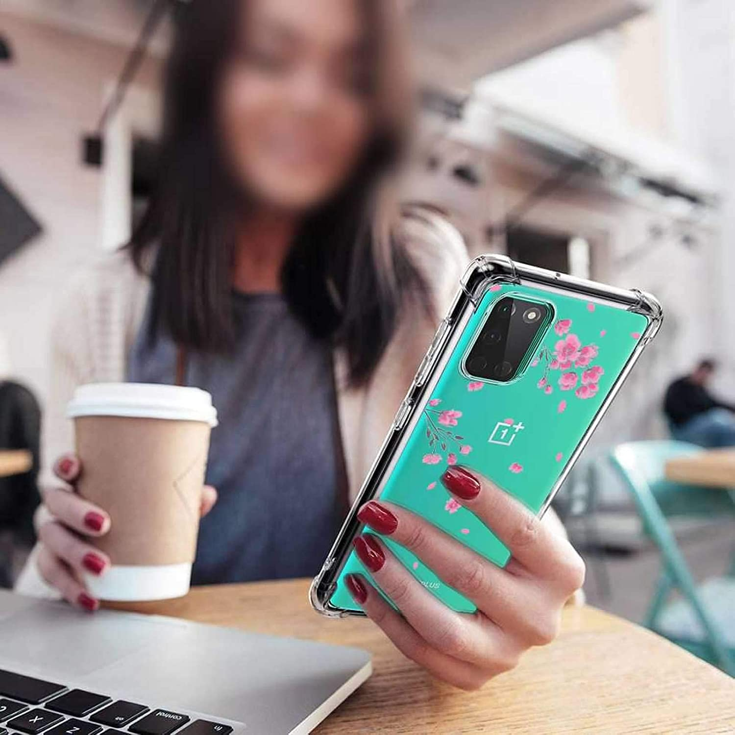 oneplus 8t+ 5g Case with Tempered Glass Screen Protector Clear Soft Shockproof Protective Phone Case Cover for Oneplus 8T 2020,1+8T Oneplus 8T 5g Case Pink Flower Compatible for Oneplus 8T Case